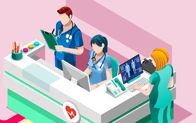 病院、病棟、ナースステーションを確認する