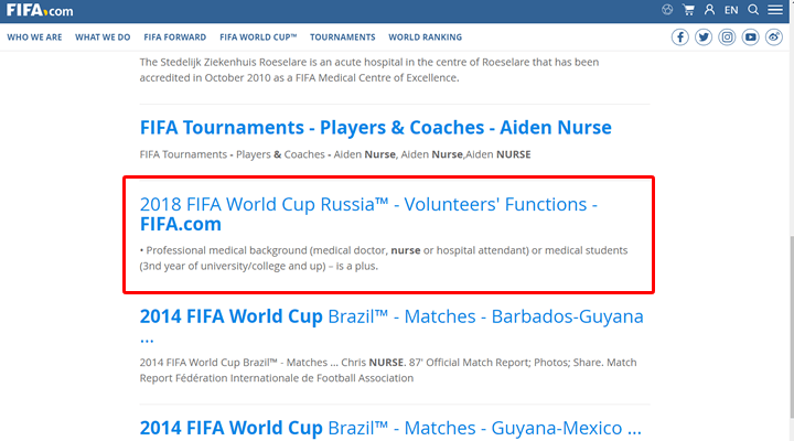 FiFaワールドカップロシアボランティア